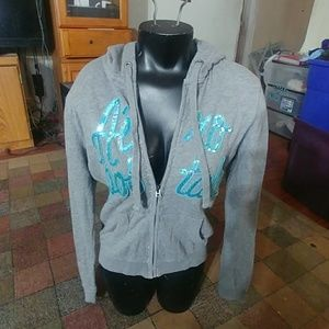 Aeropostale juniors grey zippered hoodie sz Med